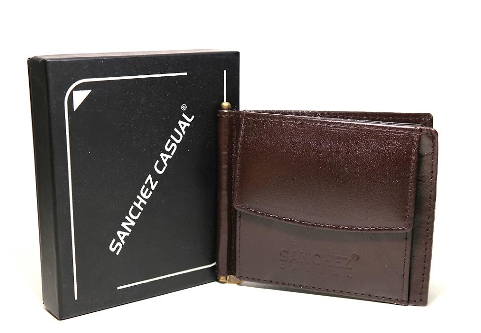 Hnědá pánská kožená peněženka dolarovka SANCHEZ no. 314 podélná