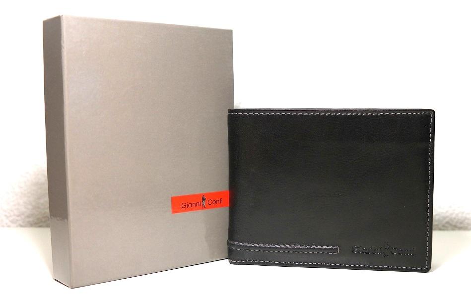 Černá pánská kožená luxusní peněženka Gianni Conti no. 707100 podélná