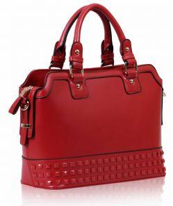 Červená středně velká kabelka do ruky LS00157A