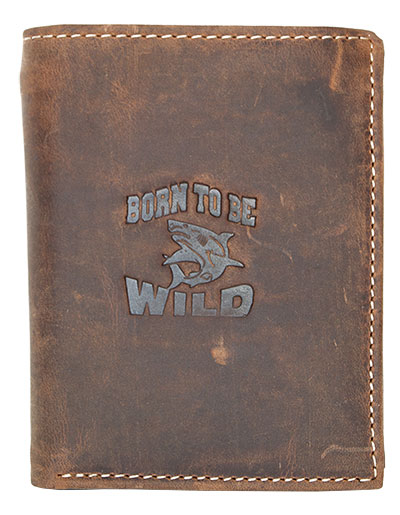Hnědá pánská kožená peněženka Born to be Wild se žralokem na výšku