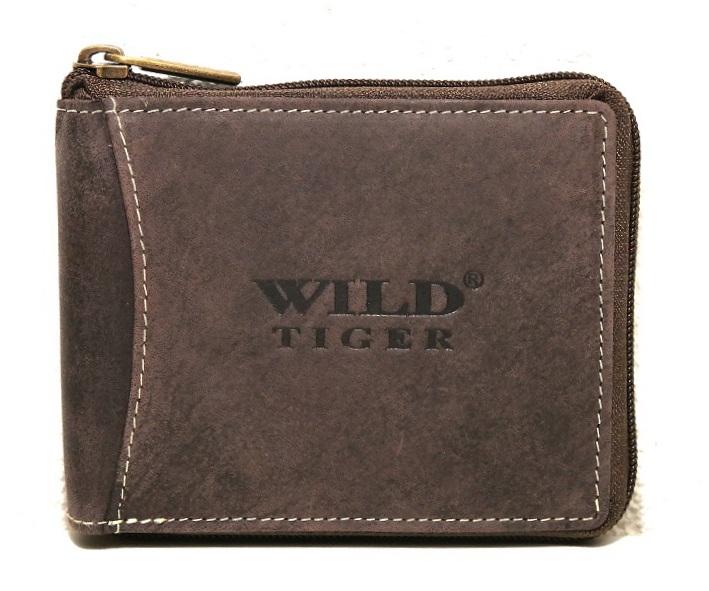 Celozipová peněženka Wild Tiger tmavěhnědá