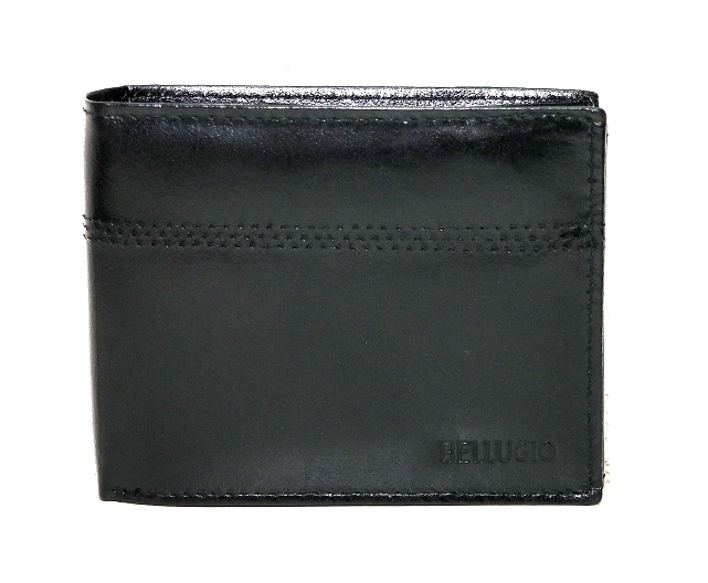 Černá pánská kožená peněženka BELLUGIO mírně lesklá podélná