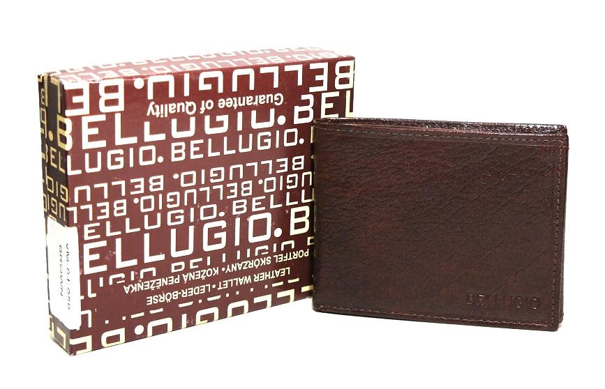 Malá tmavěhnědá pánská kožená peněženka BELLUGIO podélná