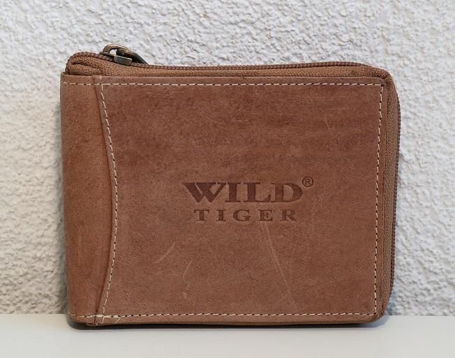 Celozipová peněženka Wild Tiger světlehnědá
