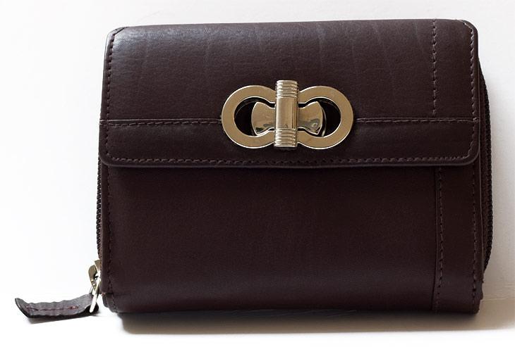 Tmavěhnědá dámská kožená peněženka HMT