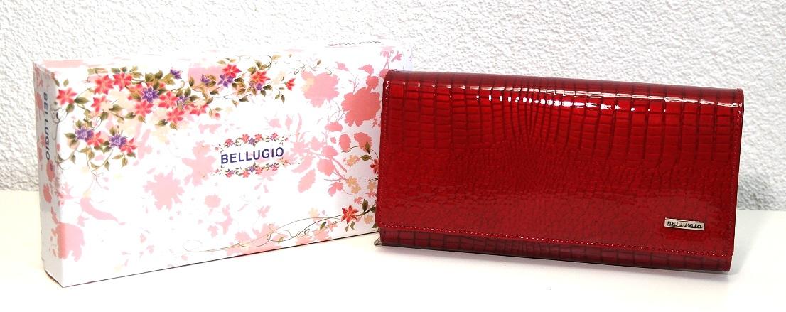 Lesklá červená dámská kožená peněženka BELLUGIO