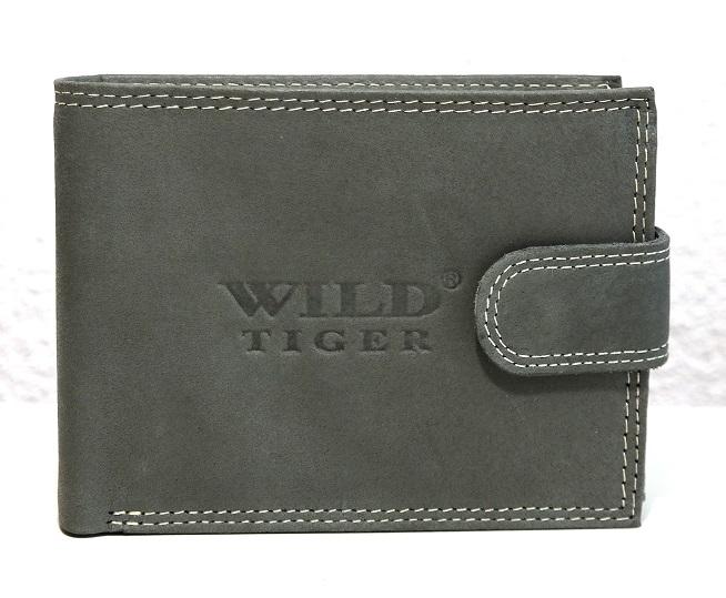 Šedá pánská kožená peněženka WILD Tiger podélná