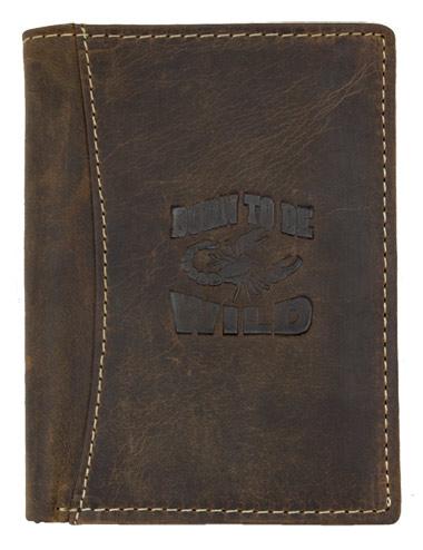Hnědá pánská kožená peněženka Born to be Wild se štírem na výšku