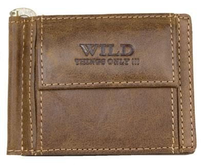Tmavěhnědá pánská kožená peněženka WILD dolarovka podélná