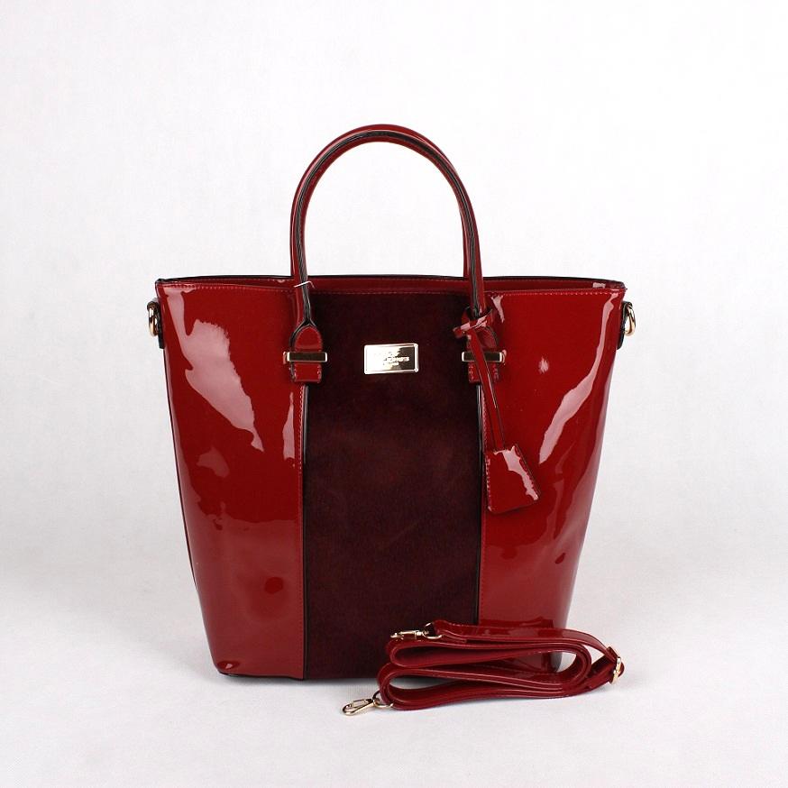 Lesklá červená kabelka na ruku David Jones 3927-2