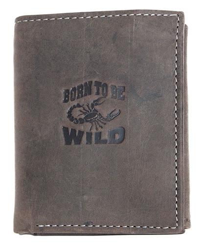 Šedohnědá pánská kožená peněženka Born to be Wild se štírem na výšku