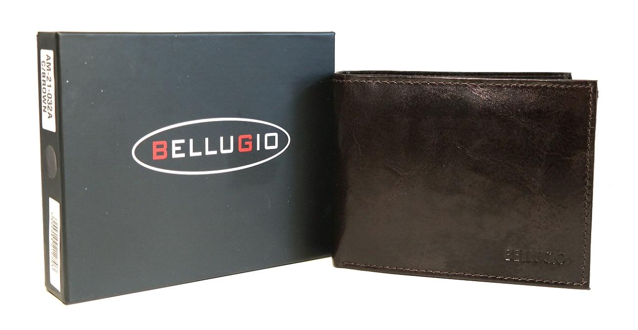 Tmavěhnědá pánská kožená peněženka BELLUGIO podélná