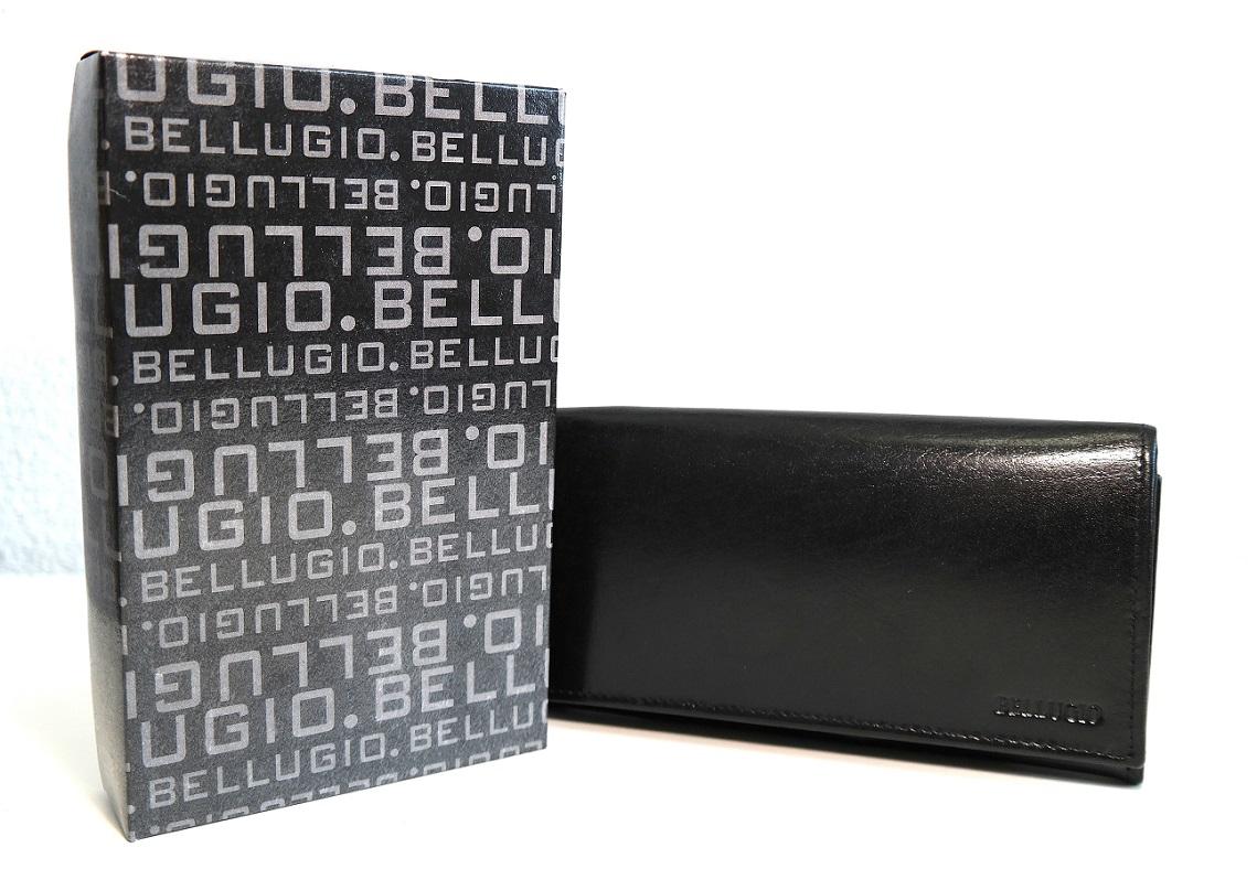 Černá mírně lesklá dámská kožená peněženka BELLUGIO