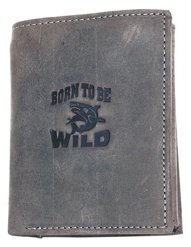 Šedohnědá pánská kožená peněženka Born to be Wild se žralokem na výšku
