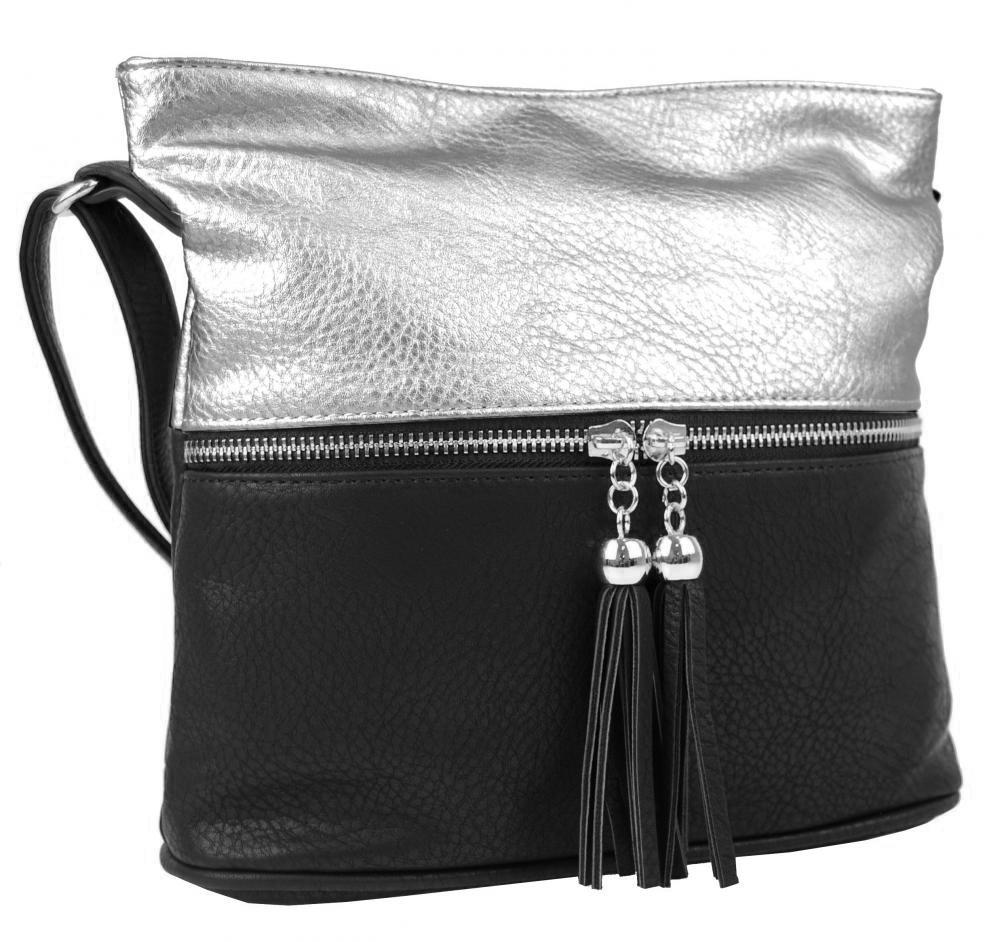 Crossbody kabelka NH6020 černo-stříbrná