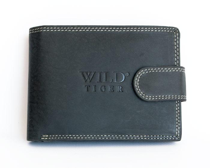 Černá kožená peněženka WILD Tiger