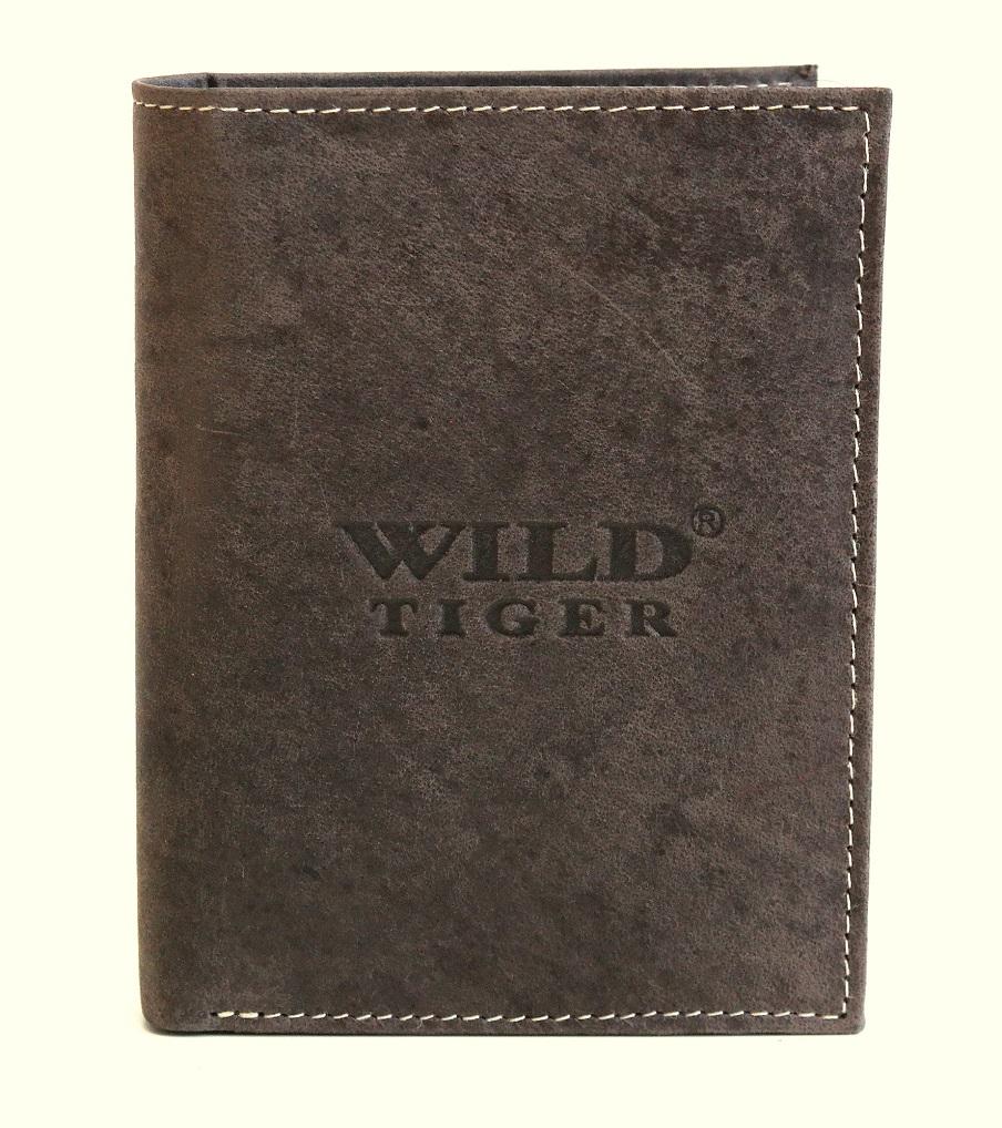 Tmavěhnědá pánská kožená peněženka Wild Tiger (AM-28-123) na výšku