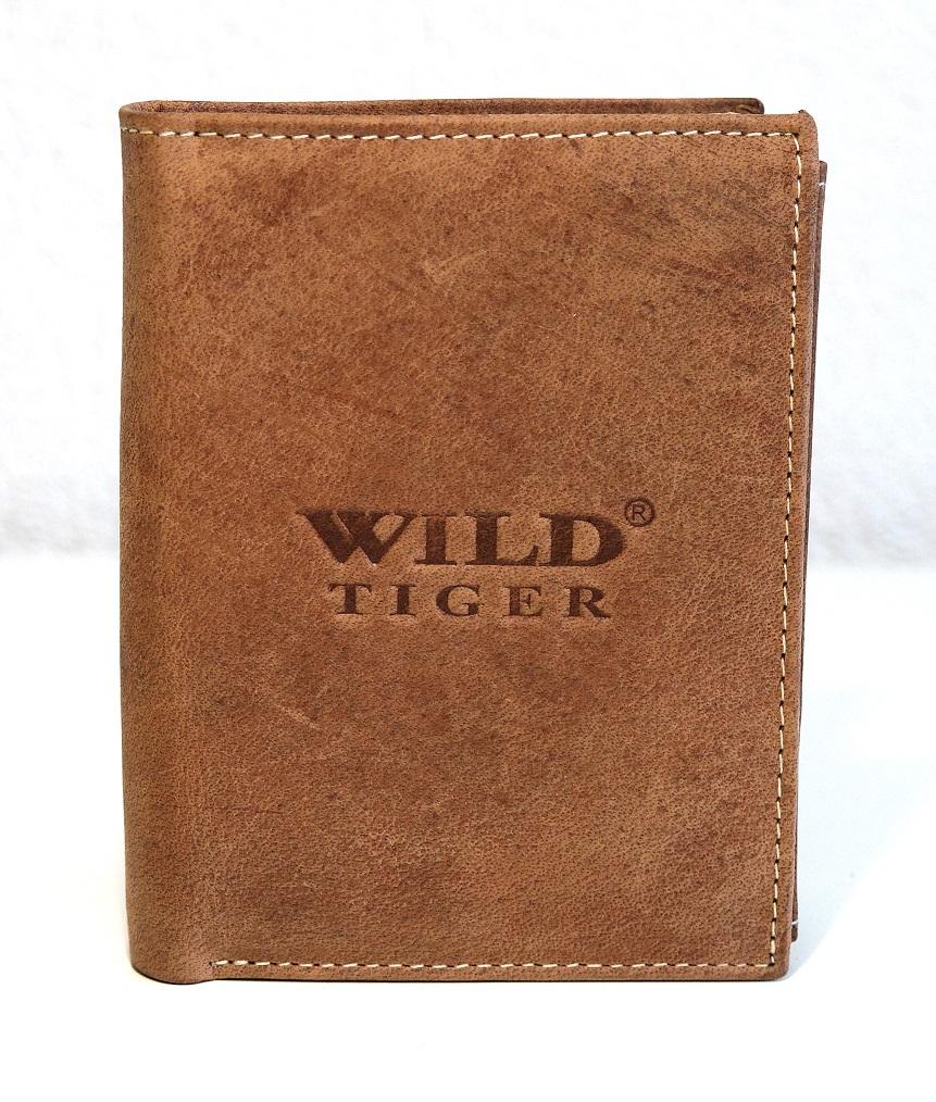Světlehnědá pánská kožená peněženka Wild Tiger (AM-28-123) na výšku