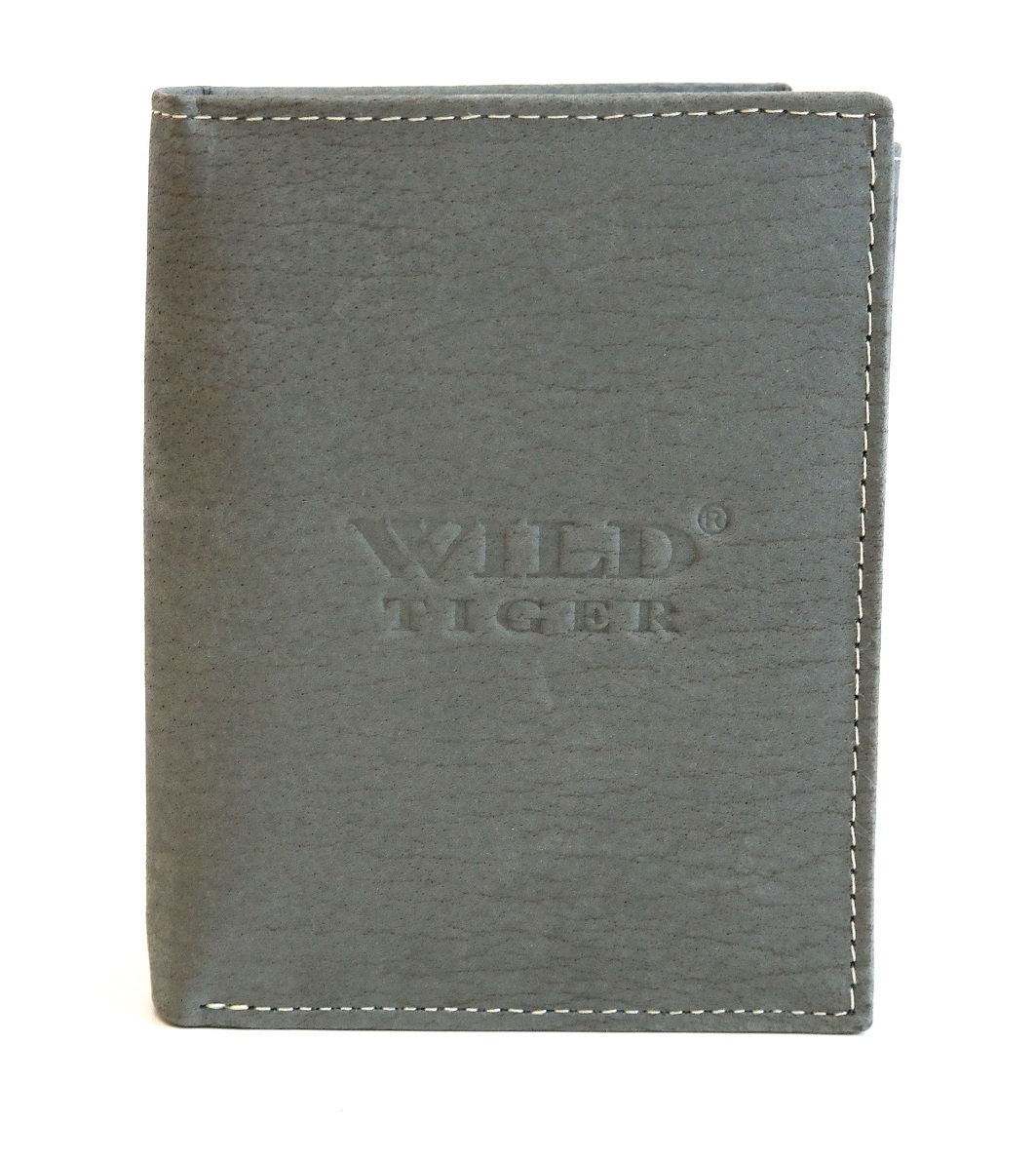Šedá pánská kožená peněženka Wild Tiger (AM-28-123) na výšku
