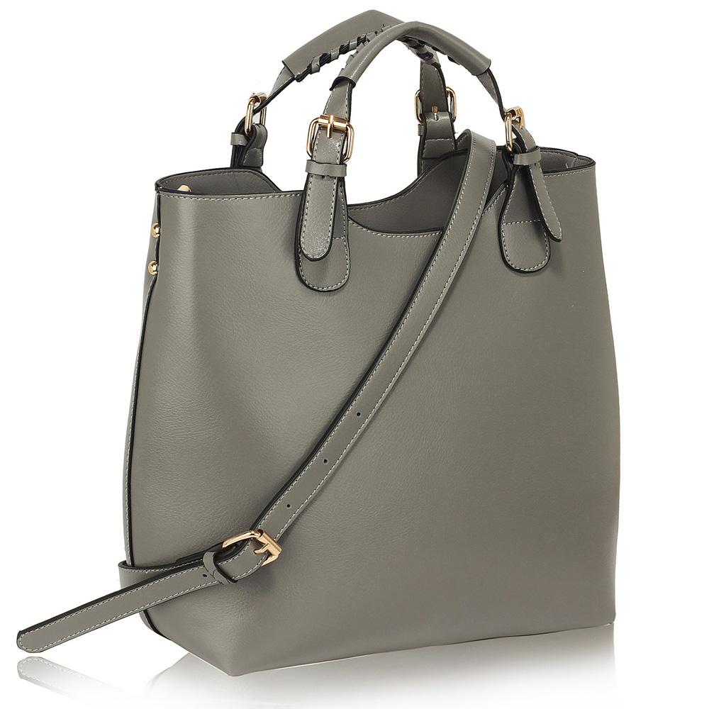 Šedá velká kabelka shopperbag LS00267