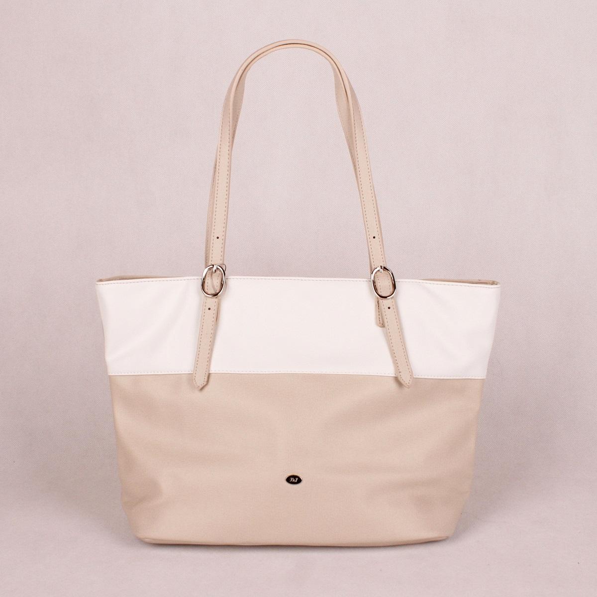 Béžovo-bílá kabelka na rameno David Jones CM3136