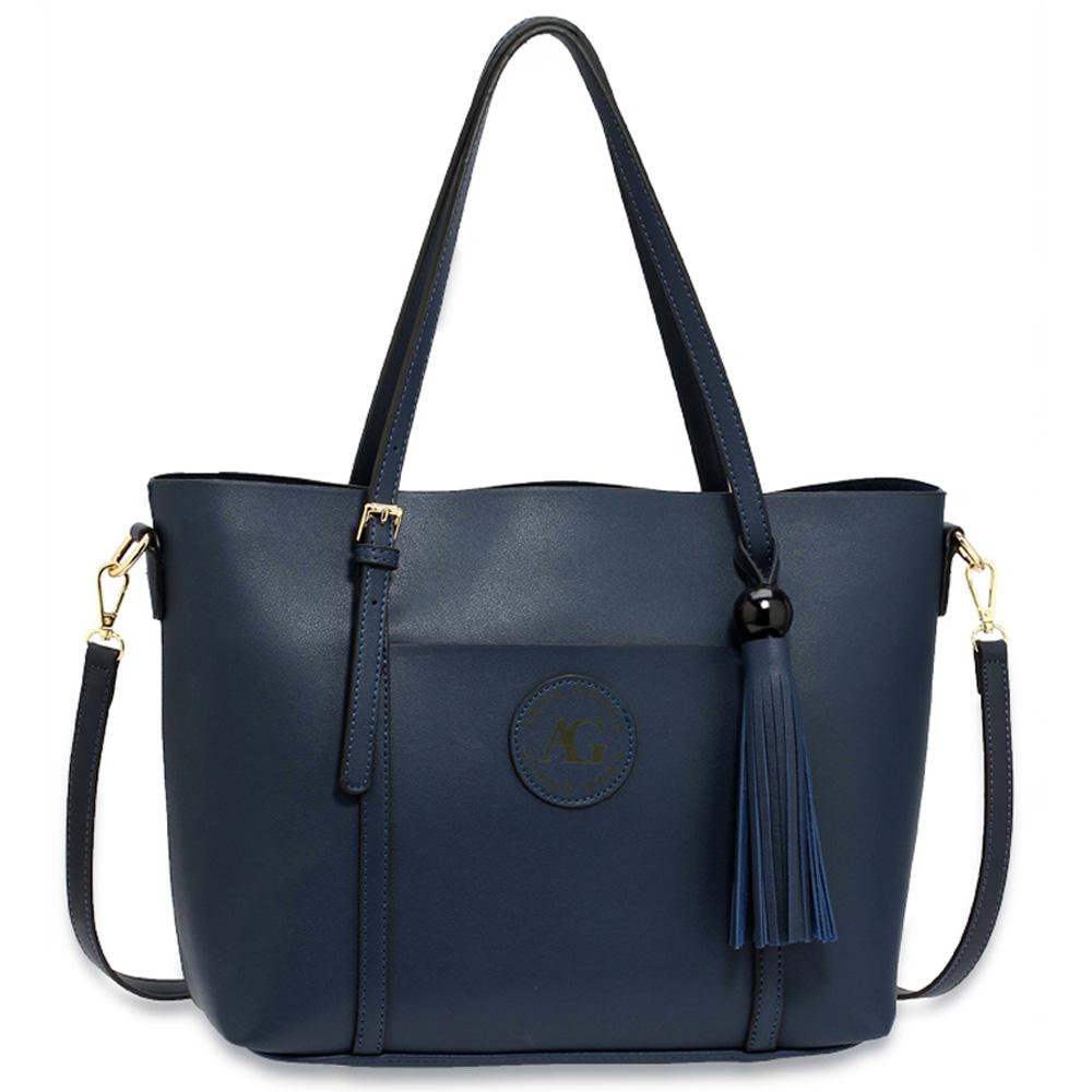 df65294677 Elegantní velká hladká modrá kabelka na rameno AG00595
