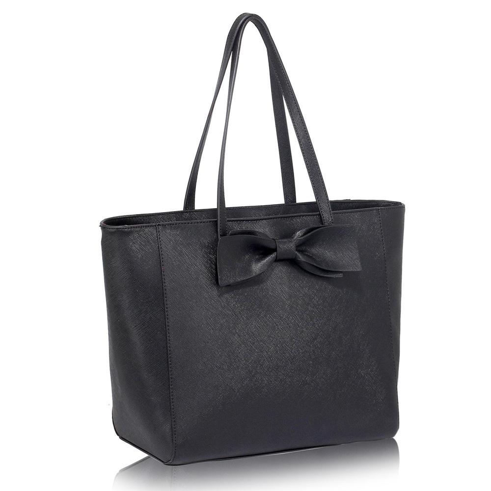 Levná černá kabelka s mašlí do ruky i na rameno LS00275
