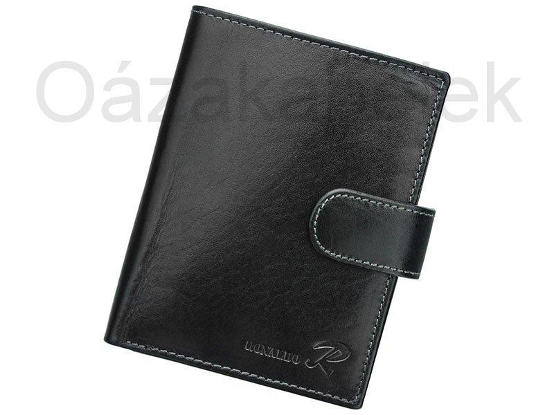 Černá pánská kožená peněženka Ronaldo N4L-VT s upínkou