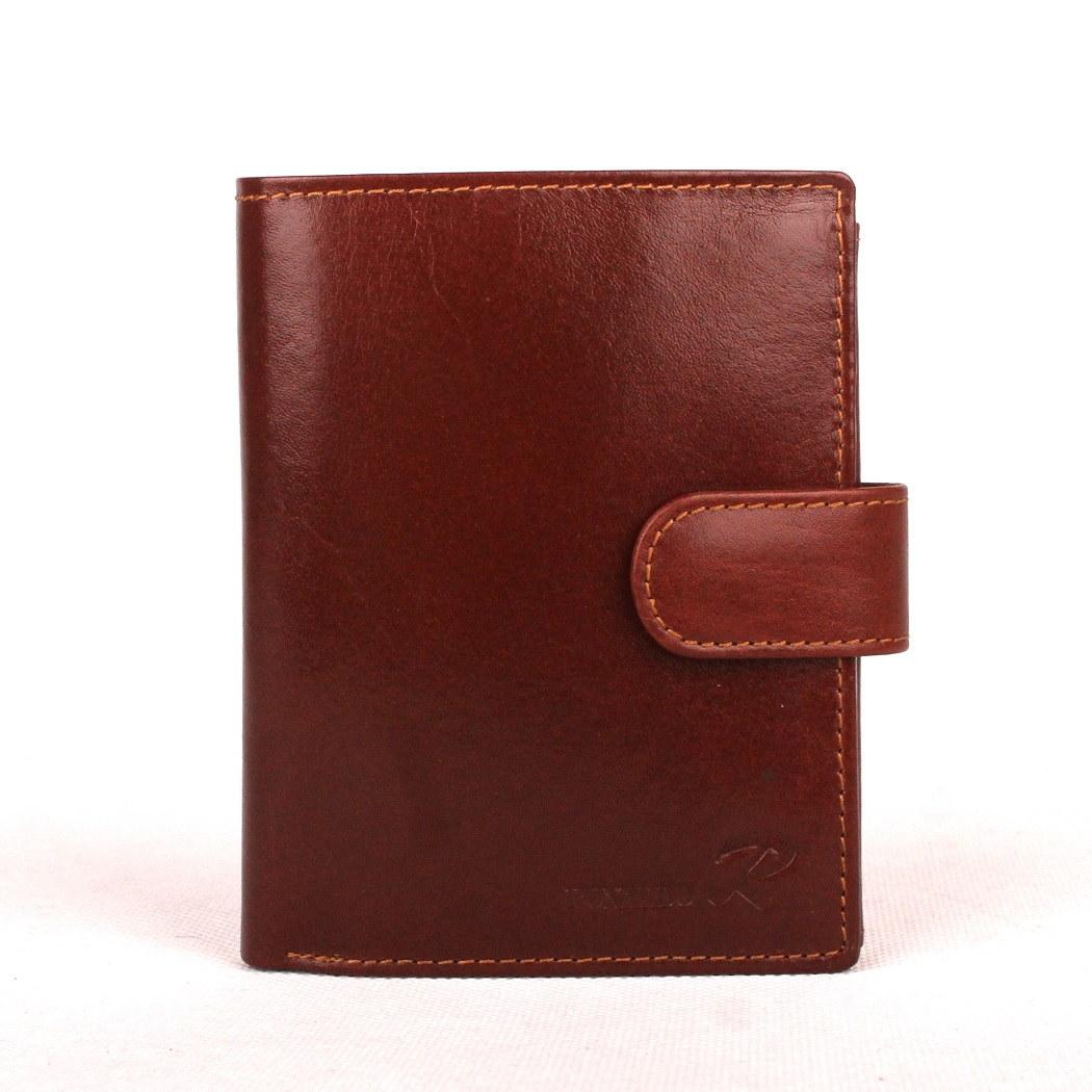 Hnědá pánská kožená peněženka Ronaldo N4L-VT s upínkou