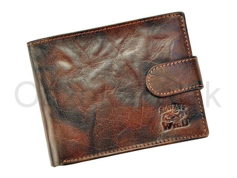 Tmavěhnědá kožená peněženka Always Wild N992L-BC se štírem s upínkou