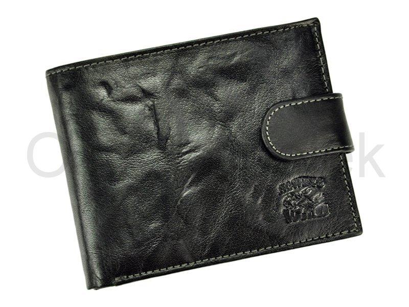 Černá kožená peněženka Always Wild N992L-BC se štírem s upínkou