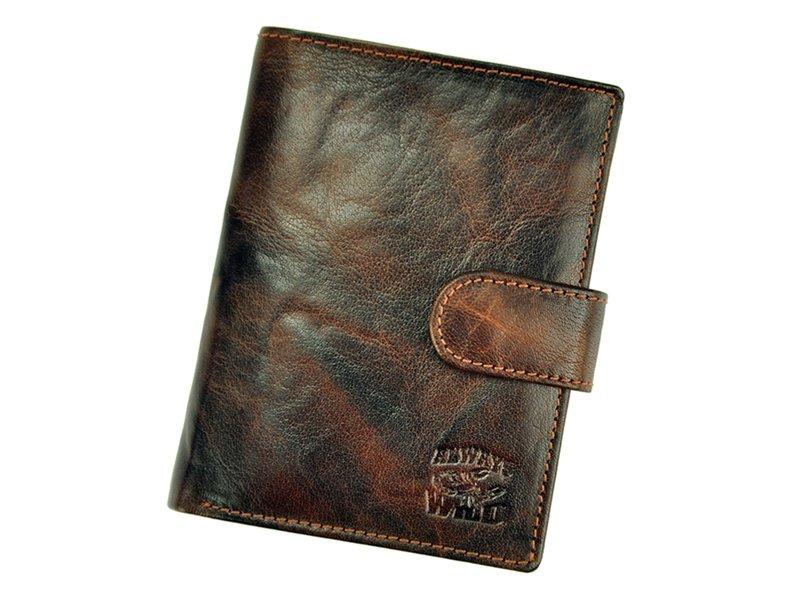 Hnědá pánská kožená peněženka Always Wild N4L-BC se štírem na upínku