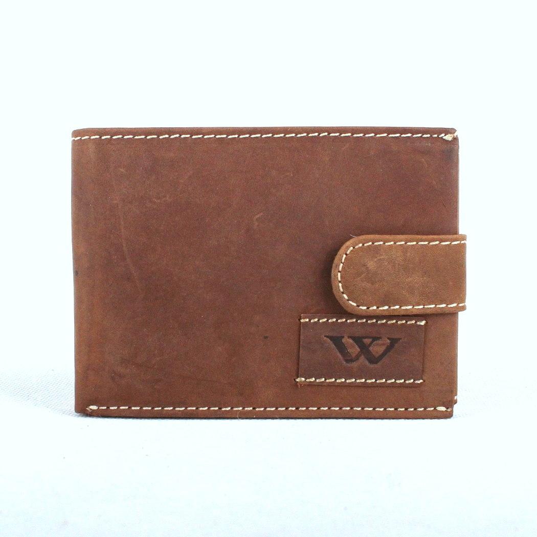 Šedohnědá pánská kožená peněženka Wild N992L-WA2 s upínkou