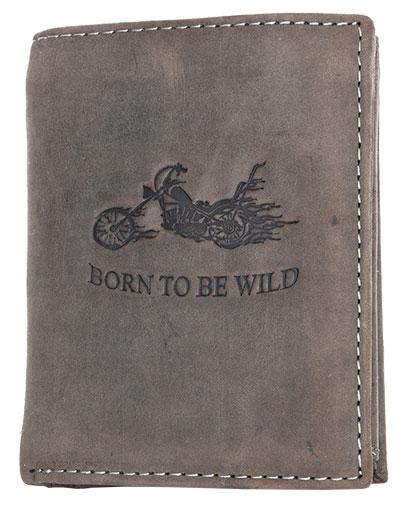 Šedohnědá pánská kožená peněženka Born to be Wild s motorkou na výšku