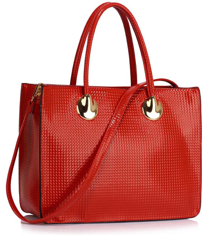Mírně lesklá červená kabelka do ruky LS00394A