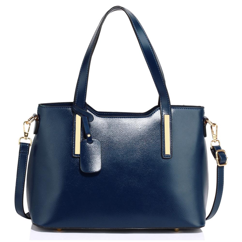 Středně velká pevná modrá hladká kabelka do ruky i na rameno AG00528