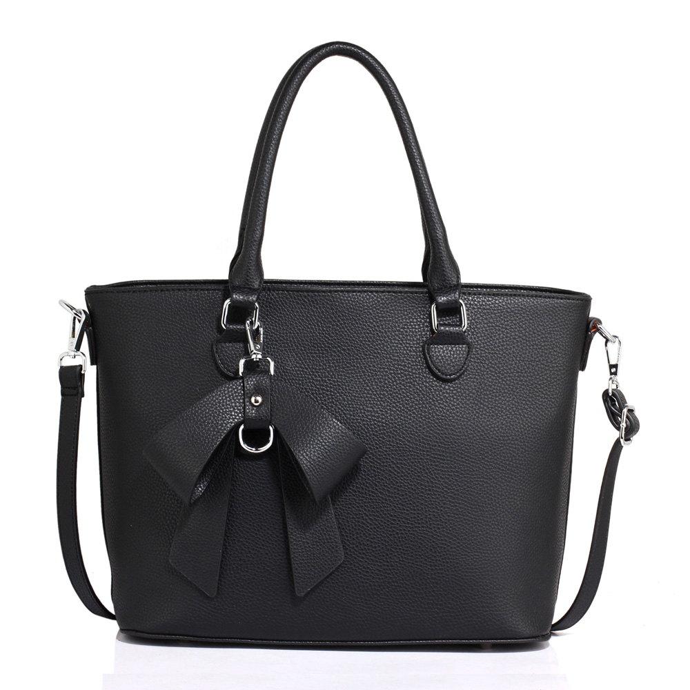 Černá kabelka s mašlí do ruky i na rameno AG00531