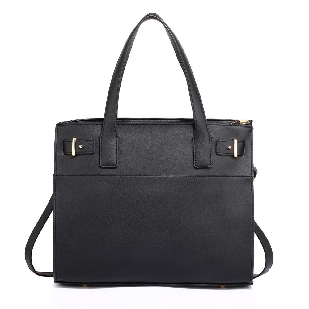 Elegantní hladká černá kabelka do ruky AG00527