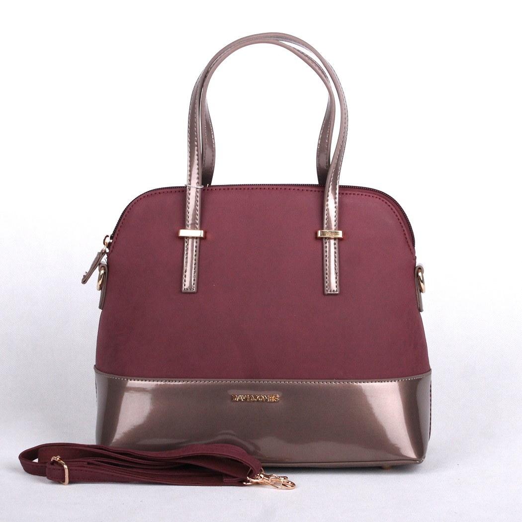 Tmavěčervená až fialová kabelka do ruky i na rameno David Jones 5609-1