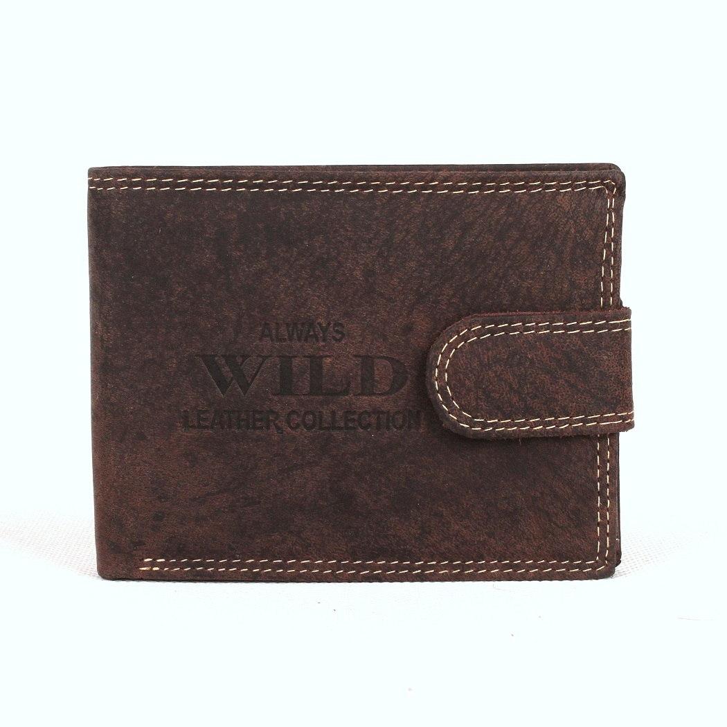 Tmavěhnědá kožená peněženka Always Wild RMH-01L s upínkou