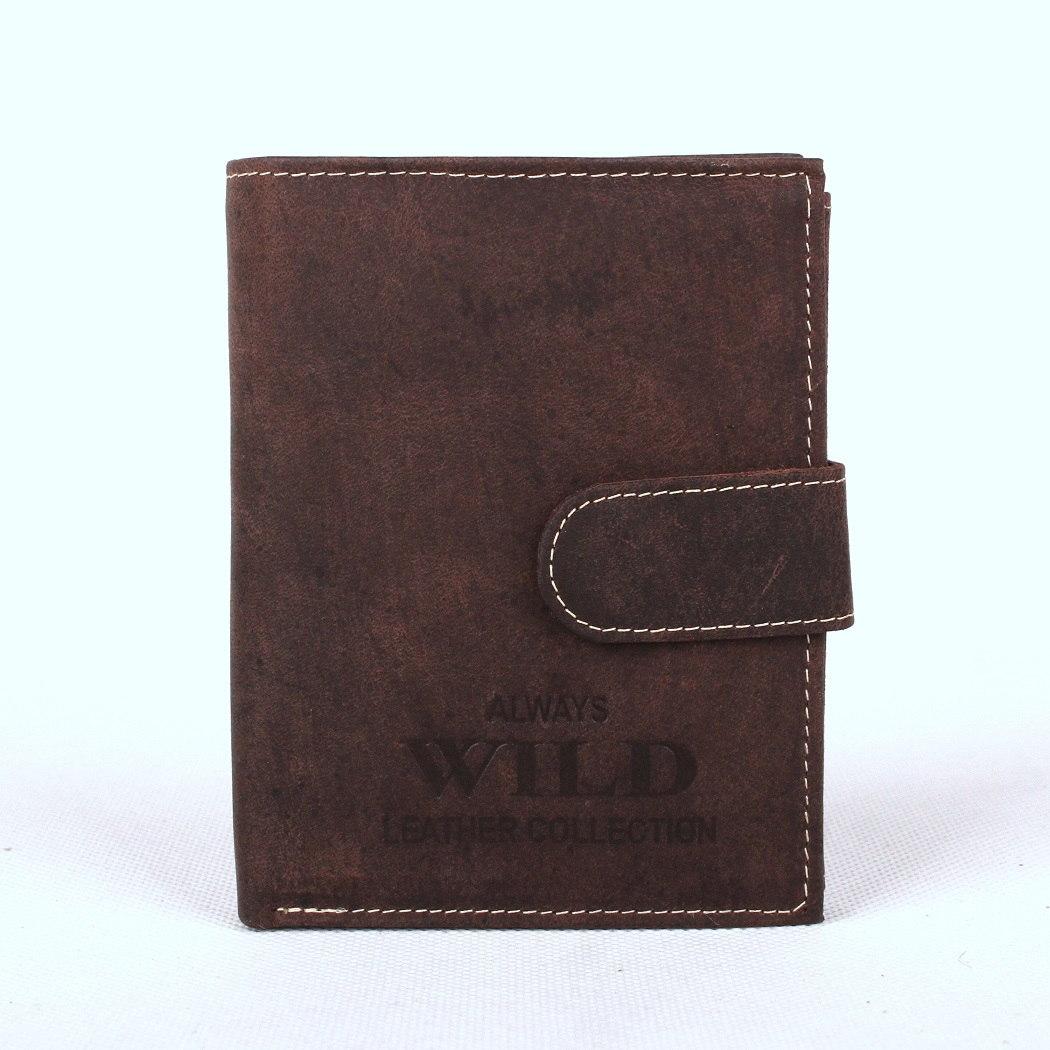 Tmavěhnědá kožená peněženka Always Wild RMH-04L s upínkou