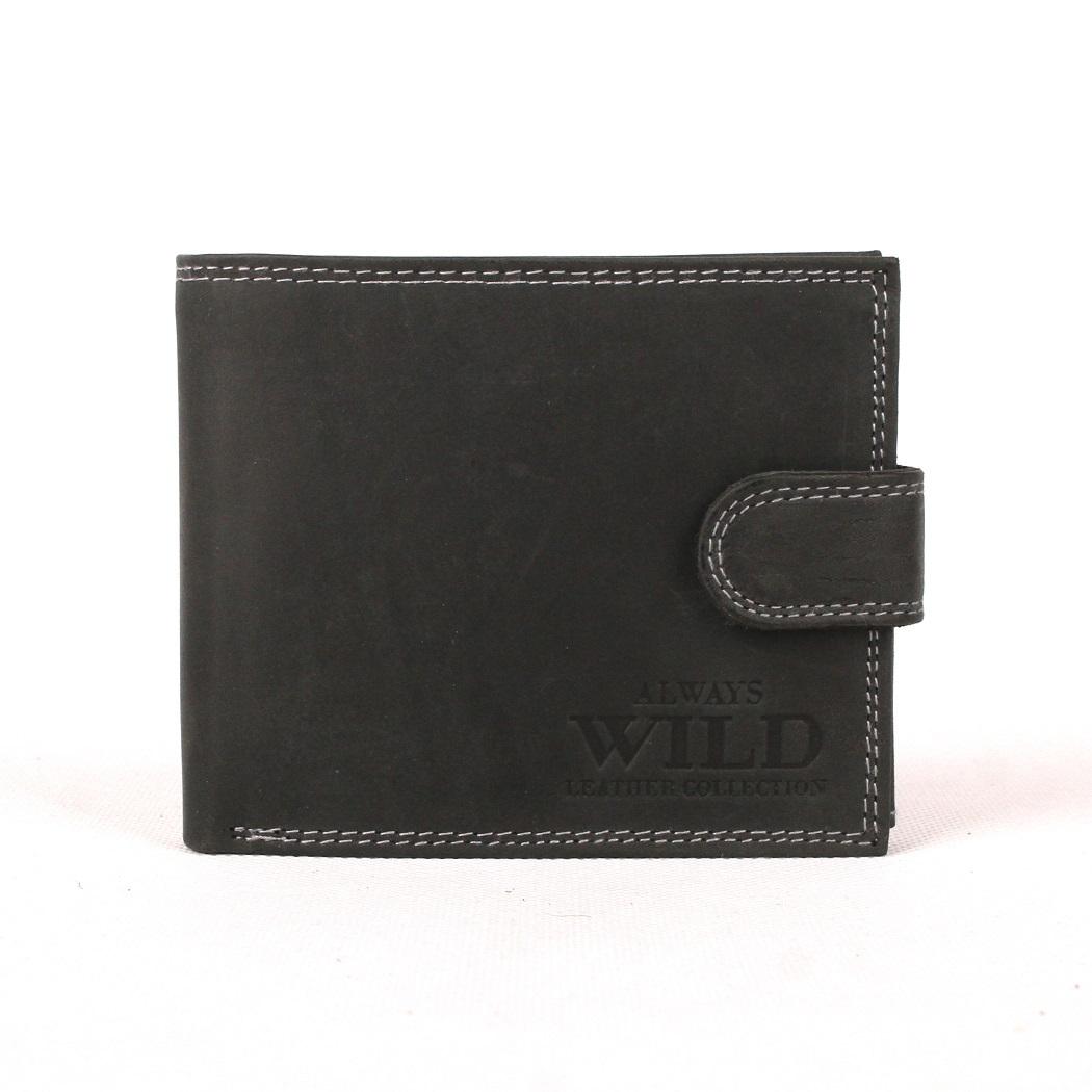 Černá kožená peněženka Always Wild N992L-MH s upínkou
