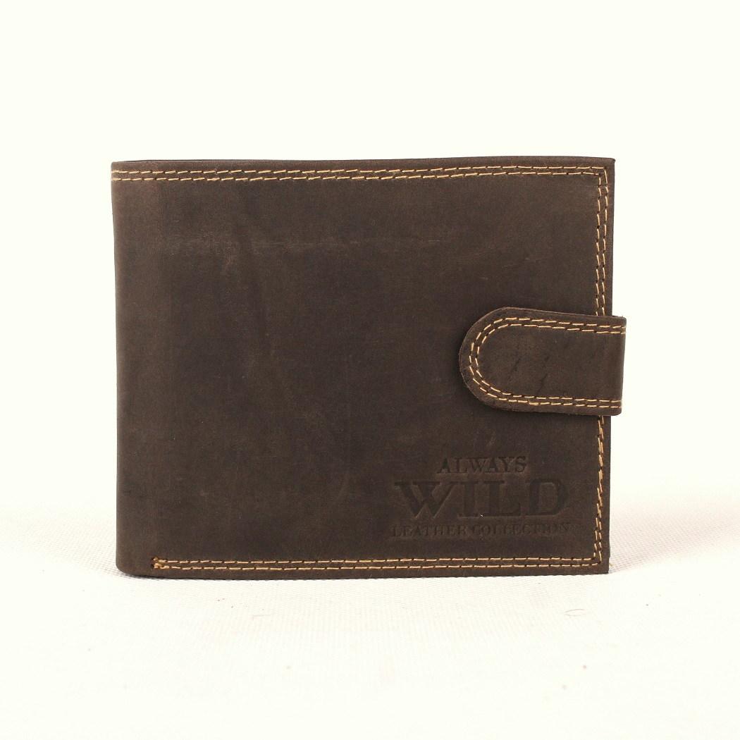 Tmavěhnědá kožená peněženka Always Wild N992L-MH s upínkou