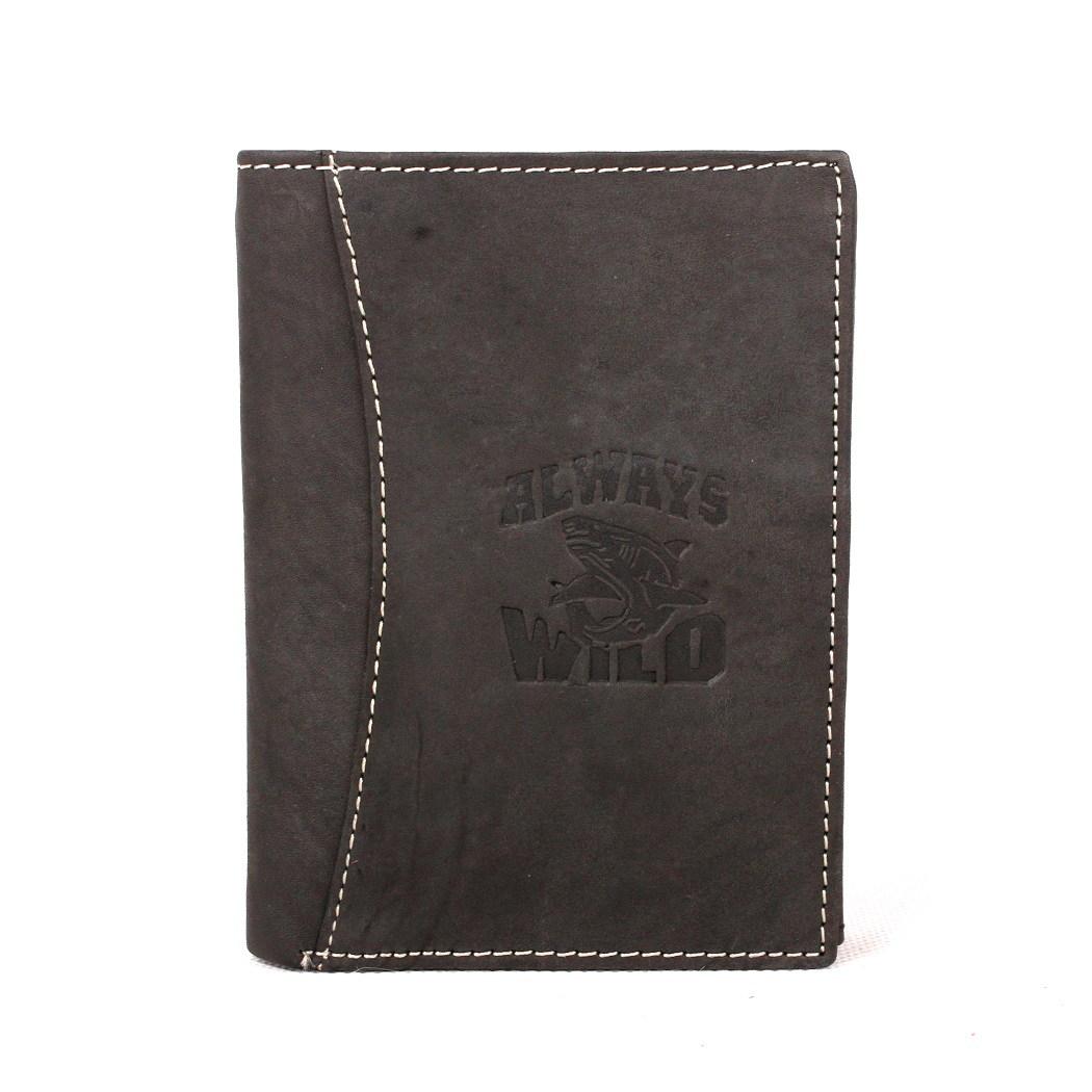 Černošedá kožená peněženka Always Wild se žralokem
