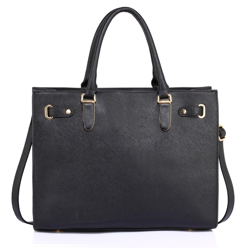 Elegantní velká hladká černá kabelka do ruky AG00521