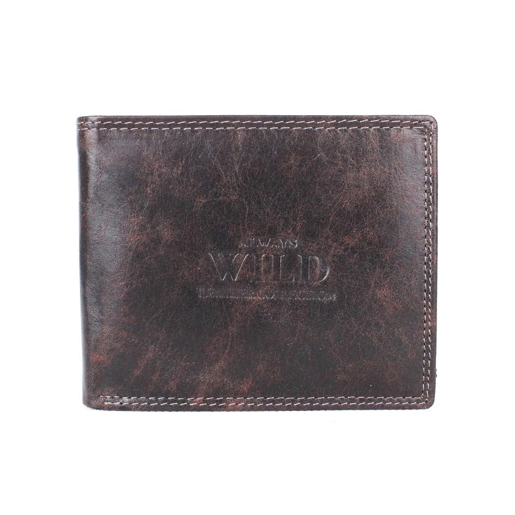 Černo-hnědá kožená peněženka Always Wild N992-MCR