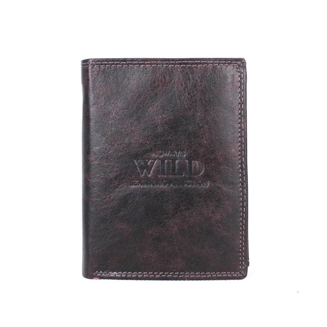 Černo-hnědá kožená peněženka Always Wild N890-MCR