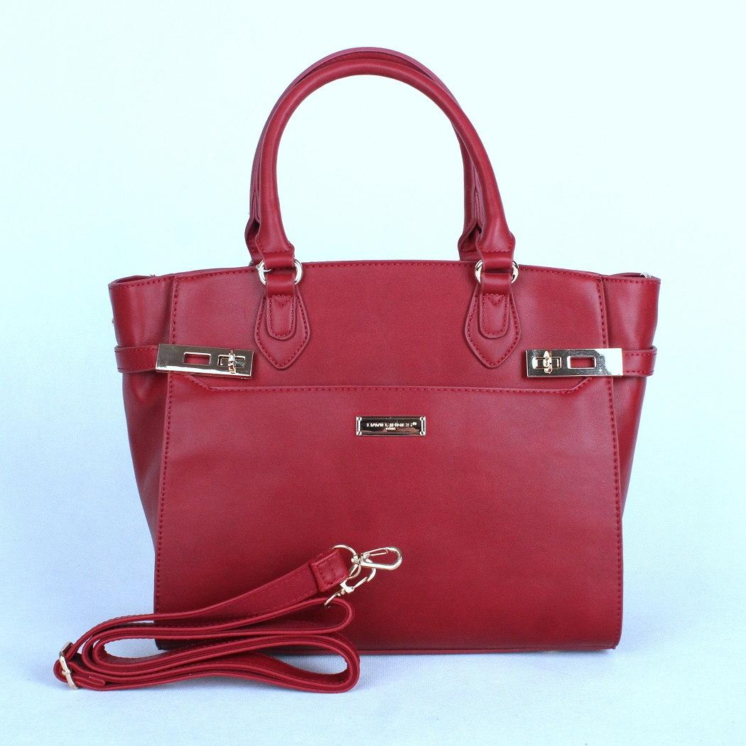 Tmavěčervená středně velká kabelka do ruky David Jones CM3200