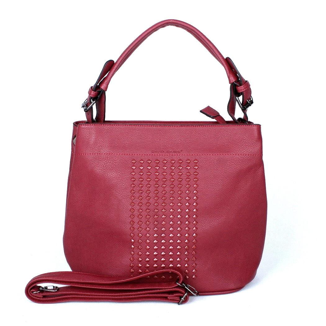 Tmavěčervená středně velká kabelka na rameno David Jones CM2743