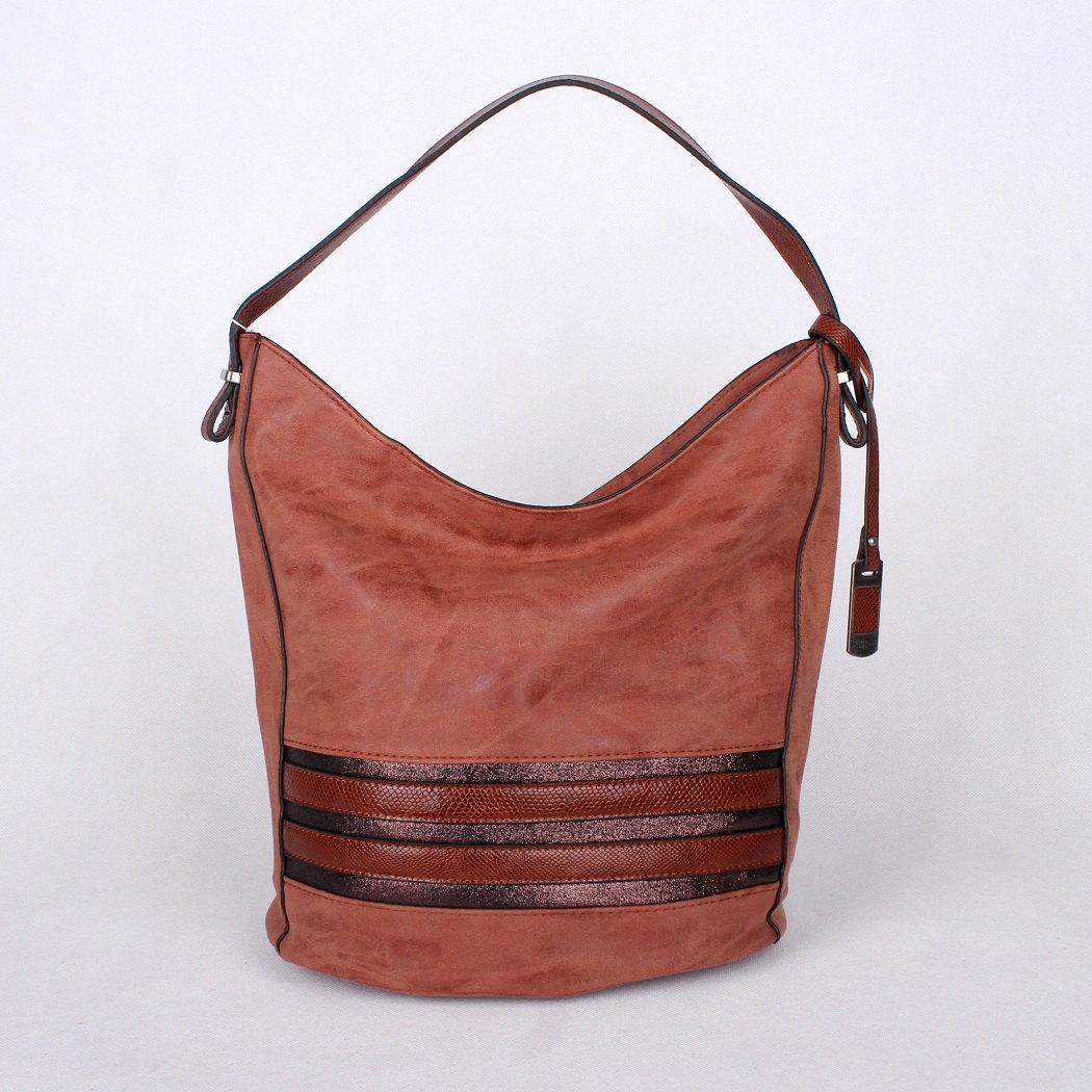 Cihlově červená středně velká kabelka na rameno David Jones 4011-1